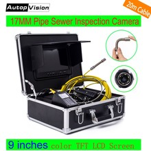 WP90 6.5/17/23mm Professional industrial Endoscope 9'' LCD 20m cable pipeline inspection camera system Sewer Snake Video Camera