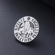 Knights Templar Seal Crusaders Solomons Temple Badge Brooch Letter Sigillum Militum Xpisti Masonic Shield Pins Brooches for Men