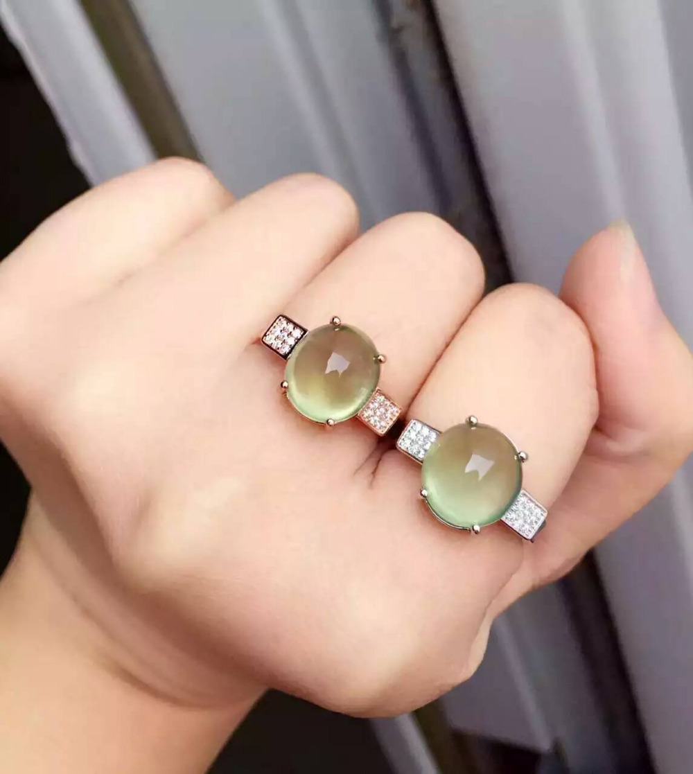 Natural green prehnite stone Ring Natural gemstone Ring S925 sterling silver trendy Elegant refined round women's party Jewelry цена 2017
