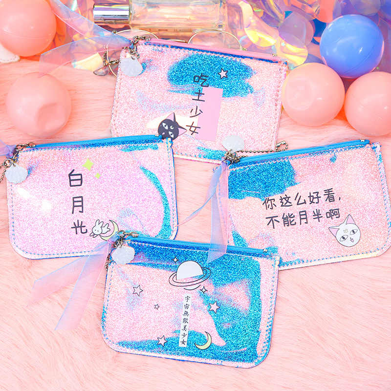 Gato bonito Coin Purse Mini Carteira Pequena Do Laser Holográfico Saco Caso do Cartão de Moeda Bolsa Moda Feminina Envelope Clutch Bag Menina adolescente