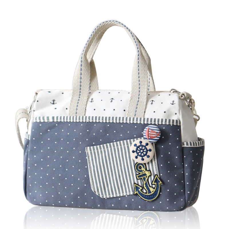 Lovely Preppy Style Ladies Fashion font b Handbag b font Stylish Embroidery Patch Pocket Spotted Casual