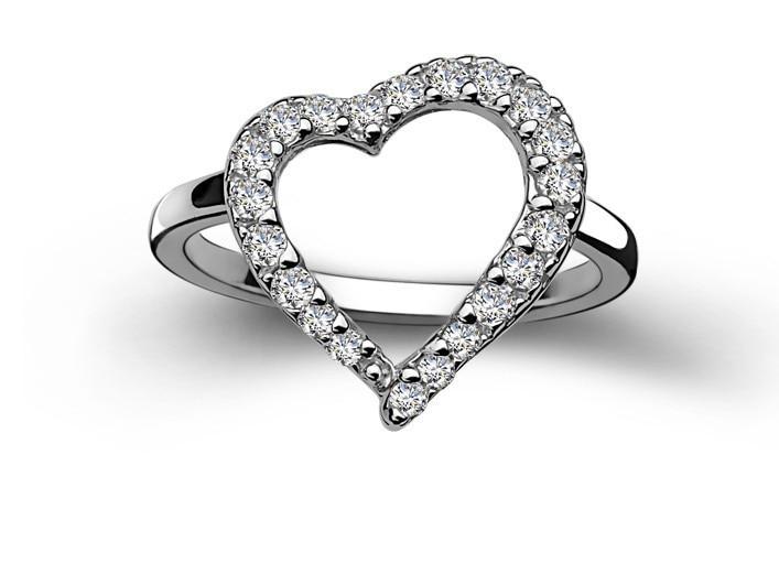 Amazing Two Rings bine Pure White Gold 18K Female Heart Shape