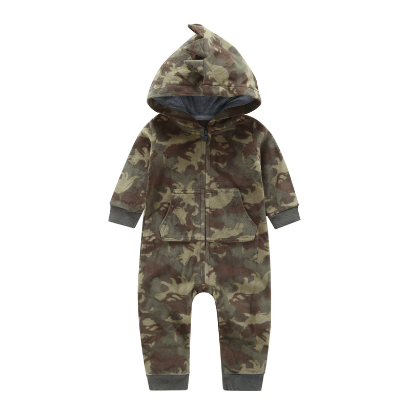 2018 Autumn Winter Warm Baby   Rompers   Cartoon Hooded Fleece baby girls jumpsuits Babies boys newborn costume