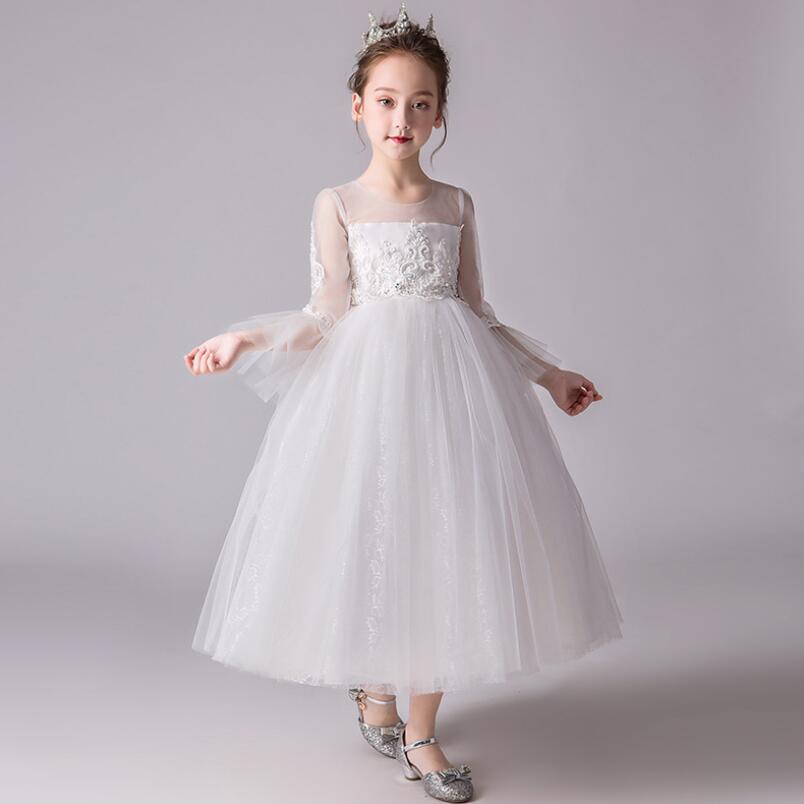 9fedbcb43 رومانسية الأبيض القرن كم الأميرة زهرة فتاة صغيرة فساتين الاطفال مراهقون مساء  مهرجان عطلة حزب اللباس