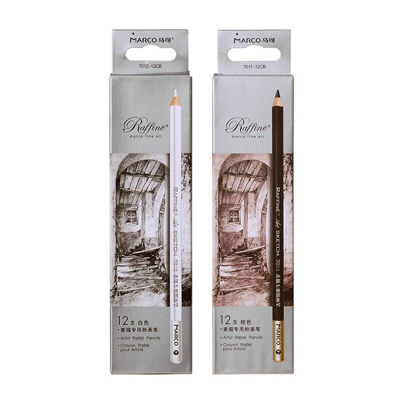 Marco Raffine 7011 Art Drawing Sketch Brush Pencils Caryon Pastel Pour as Prismacolor Premier Soft Core Colored Sienna Pencil
