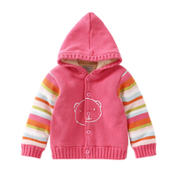 New 2017 autumn Winter Children Sweater Girls cardiga Warm Hooded Sweaters baby Cotton Coat kids Rainbow striped Jackets