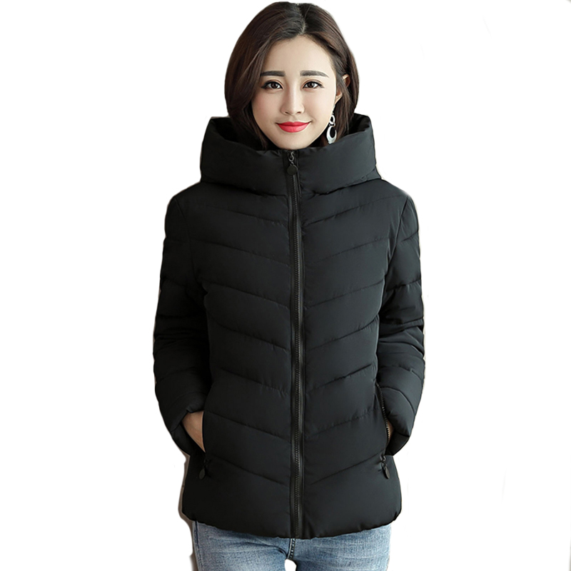 Plus Size 2019 New Women Winter   Jacket   3XL 4XL Outwear   Basic     Jacket   Hooded Autumn Coat Jaqueta Feminina Stand Collar
