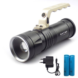 Zoom Focus flashlight rechargeable searchlight Searching Lights flash light torch lantern fishing hunting 18650 battery charger
