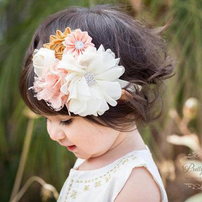 SLLIOOUS Girls Shabby Lace Flower Rhinestone Headbands Lovely Newborn Headwear Hair Bands Accessories Photography props