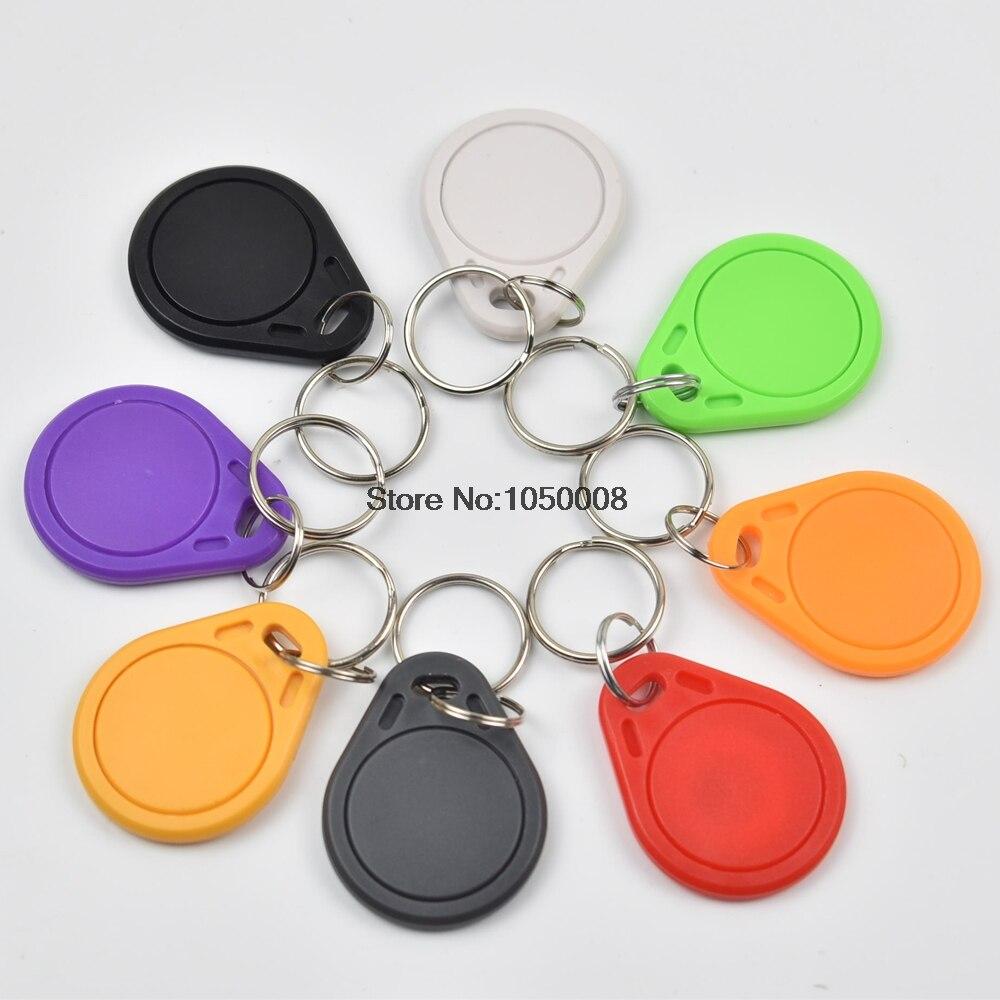 100pcs EM4100 125KHz RFID ID Induction Proximity Tag Token Keyfob Black//Grey