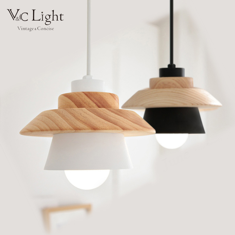 Scandinavian Suspension light shade LOFT Luminaria art deco chandelier e27 220v Lustre Nordic Oak Wood <font><b>Lamp</b></font> LED <font><b>Bulb</b></font> for Kitchen