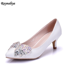 New Spring Autumn Fashion 5CM High Heels Women Pumps Sexy Wedding Rhinestone Bow Butterfly-knot Pointed Shoes XY-A0018 цены онлайн