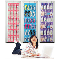 Clear Collection Non Woven Fabric PVC Hanging Bags 24 Pocket Over The Door Shoe Organizer Storage