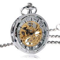 Charm Silver Simple Mechanical Pocket Watch Hand Winding Luxury Retro Fashion Hollow Pendant FOB Chain For