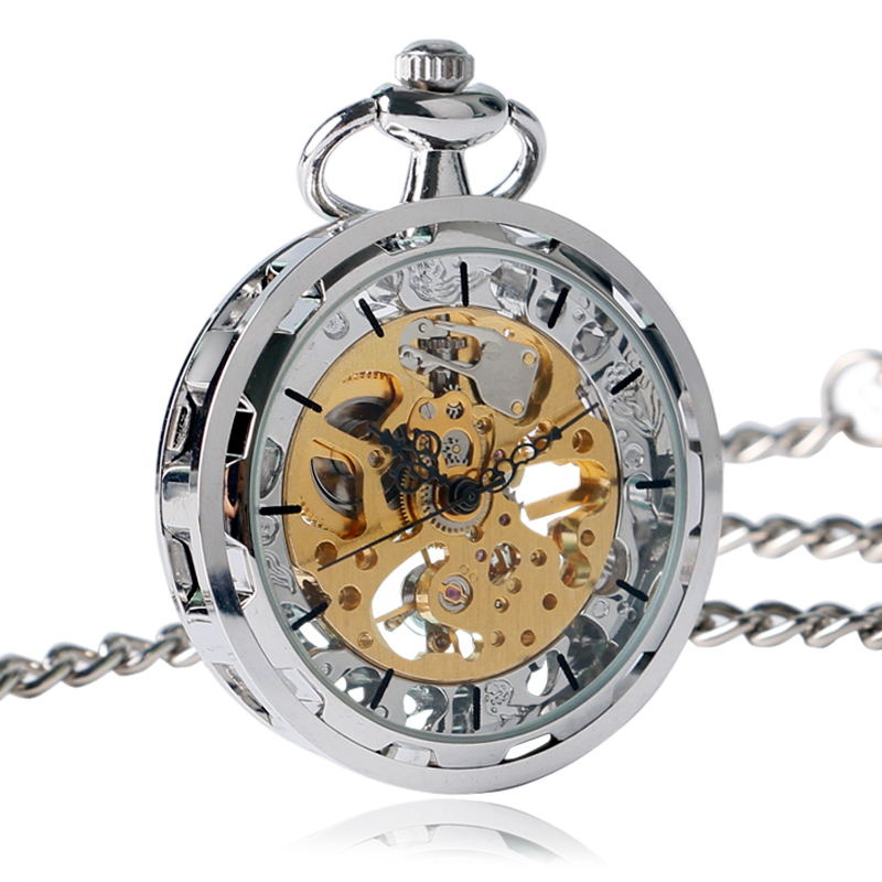 Charm Silver Simple Mechanical Pocket Watch Hand-winding Luxury Retro Fashion Hollow Pendant FOB Chain for Women Men Nurse Gifts fob automatic mechanical poker hollow pendant skull bronze pocket watches with chain men women skeleton watch free shipping