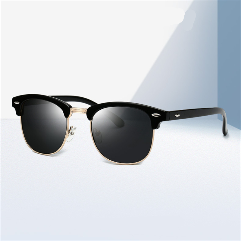 ASOOP2019 جديد أزياء أنثى نظارات كلاسيكية العلامة التجارية تصميم نصف الإطار جولة نظارات شمسية للرجال UV400 ريترو ليوبارد طباعة النظارات