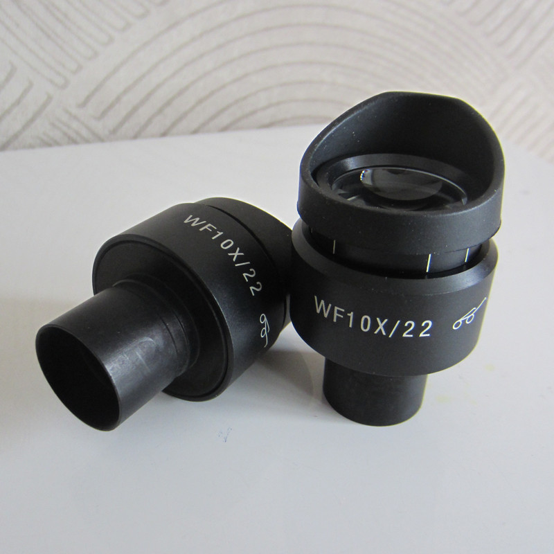 2pcs WF10X 22MM Adjustable Optical High Eyepoint Biological Microscope Eyepiece Lens with Rubber Eye Guards Cups