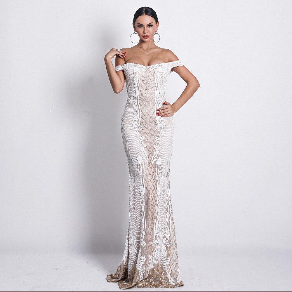 Été élégant élégant Sequin Design sans manches o-cou Sexy 2019 nouvelle célébrité soirée tenue de club en gros femmes longue robe