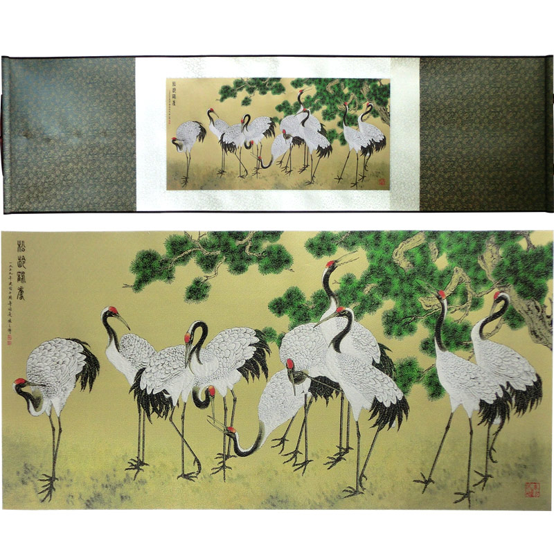 ShaoFu Chinese Silk Scroll Painting Vintage Business Gift Pine Crane Figure Famous Calligraphy Art Picture Gift Home Decoration in Painting Calligraphy from Home Garden