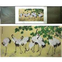 ShaoFu Chinese Silk Scroll Painting Vintage Business Gift Pine Crane Figure Famous Calligraphy Art Picture Home Decoration