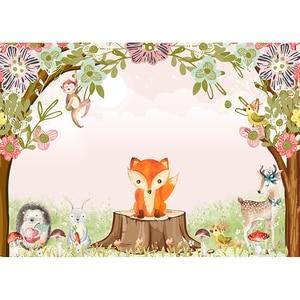 Image 2 - Fondo de árbol divertido fotográfico niños bosque animal fiesta zorro conejo mono árbol tocón hongo foto fotografía fondo