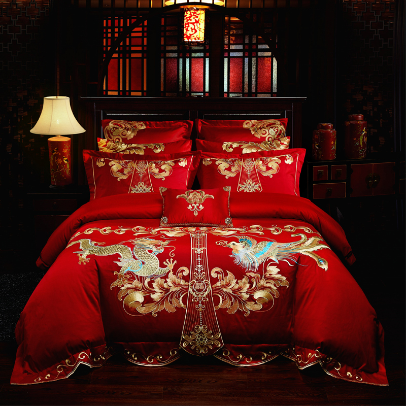Luxury Red Wedding Style Gold Loong Phoenix Embroidery 100% Cotton Bedding Set Duvet Cover Bed sheet/Linen Bedspread PillowcasesLuxury Red Wedding Style Gold Loong Phoenix Embroidery 100% Cotton Bedding Set Duvet Cover Bed sheet/Linen Bedspread Pillowcases