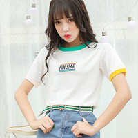 Japanese Harajuku Letter Embroidery Love T Shirt Women S Cotton Print Ladies Tops Female Kawaii Clothes
