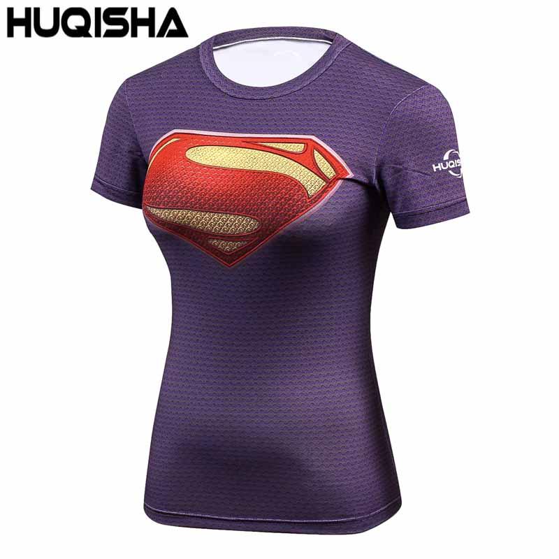 높은 탄력성 피트 니스 압축 셔츠 여성 슈퍼맨 보디 - 여성 의류