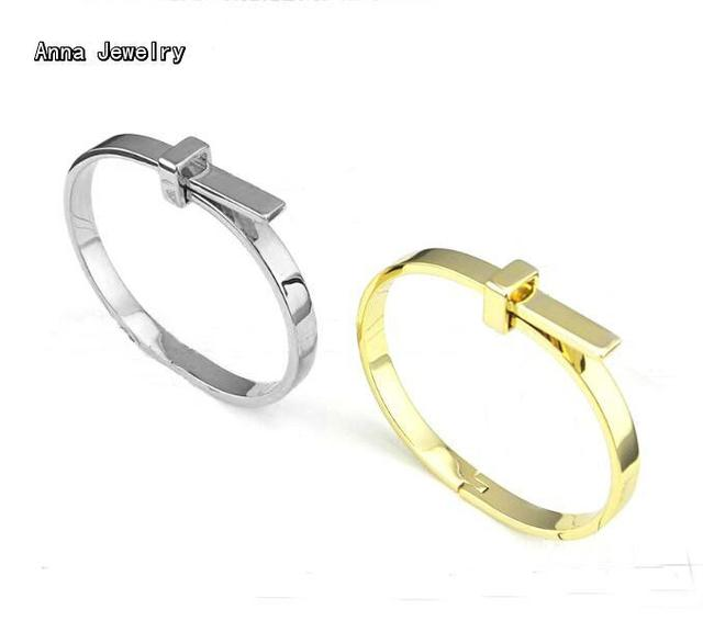New Elegant Designer Simple Clasp Bracelet,Stainless Steel Material with Yellow Gold and White Gold Colors,Fashion Cuff Bracelet
