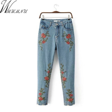 Wmwmnu Women Ripped Embroidery slim Jeans femme Vintage Female 2017 Ladies excessive waist Denim Pants Pencil Casual Fashion ls292