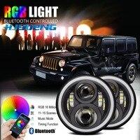 Hjyueng 7 ''JK круглый светодиодный Фары для автомобиля RGB DRL Halo Ангельские глазки с приложением Bluetooth пульт дистанционного управления для Jeep Wrangler