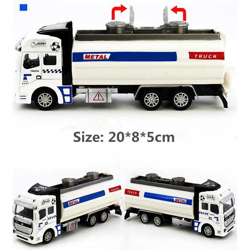 Simulasi Model Mobil Mini Diecast Paduan ABS Halus Tarik Kembali Truk Sampah Penyiraman Transport Vehicle Mainan untuk Anak-anak Hadiah