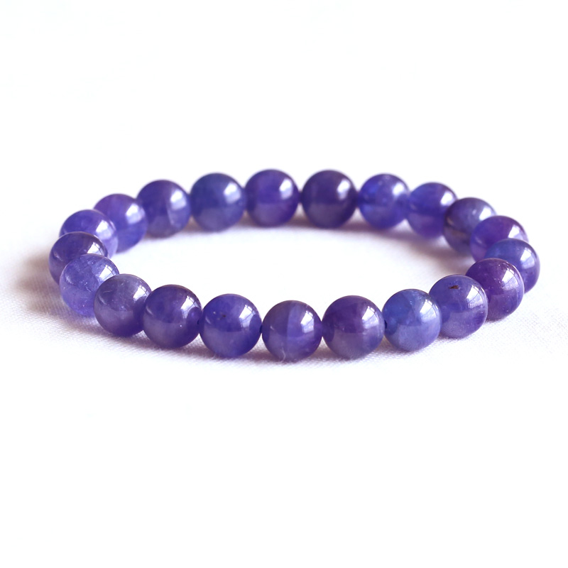 AAA High Quality Natural Genuine Tanzania Clear Purple Blue Tanzanite Stretch Finish Bracelet Round beads 9mm 05082
