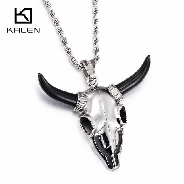 Kalen Punk Black Horn Goat Pendant Necklace For Men Boys High Polished Stainless Steel Animal Sheep Charm Long Chain Necklaces