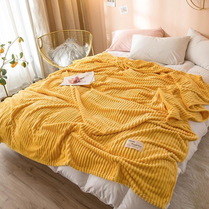 침대에 대한 bonenjoy 담요 솔리드 옐로우 컬러 부드러운 따뜻한 300gsm 격자 무늬 사각형 플란넬 담요 침대 두께에 담요를 던져