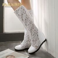 SaraIris Women's Breathable Lace Upper High Heel Wedge Shoes Woman Rubber Sole Summer Knee Boots