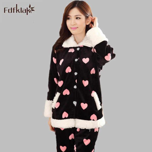 2016 New Woman Pyjamas Winter Flannel Pajamas Sets Lovely Pijama Female  Sleepwear Long-Sleeve Pyjama f5bf02e96