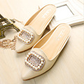 2016 New Women Flats Shoes Crystal Pointed Toe Shoes For Women Leather Plus Size Casual Shoe 35-43 Flats Woman Flat With Woman