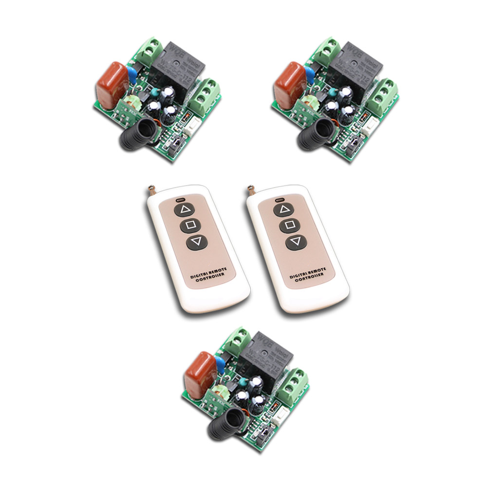 315Mhz/433Mhz Mini size 3 Receivers+2Transmitter RF 220V 4CH Wireless Remote Control Power Switch System For LED Light Lamp 220v wireless remote control switch system rf 4 receivers 3transmitter for led light lamp freeshipping
