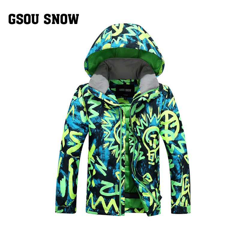 Gsou Snow ski suit children The boy is waterproof warm clothes free shipping the new 2017 gsou snow ski suit man windproof and waterproof breathable double plate warm winter ski clothes