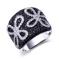 Black White CZ Women Flower Rings Gold Plated W Cubic Zircon Rings For Couple Free Shipment
