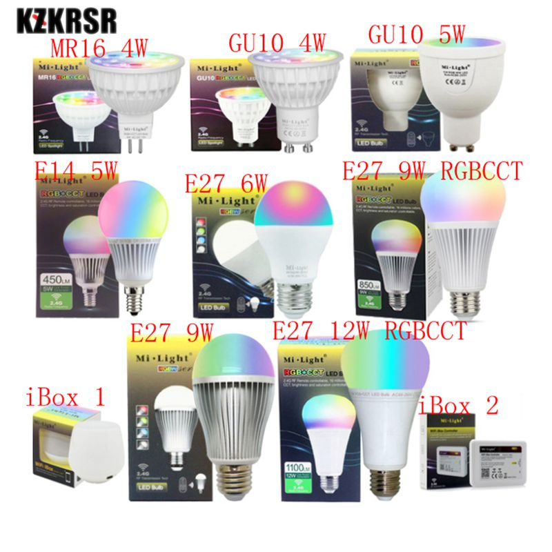 все цены на MiLight 2.4G Led Bulb MR16 GU10 E14 E27 Led Lamp Smart Wireless 4W 5W 6W 9W 12W RGBW/RGBWW/RGB+CCT Led Light ibox remote control