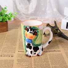 3D stereo creative embossed hand painted cartoon animal mug office large ceramic cup children drinkware Christmas lovers gift