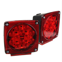 2 Pieces LED DC 12V Car Truck Trailer Stop Brake Light Submersible Square Warning Light Lamp