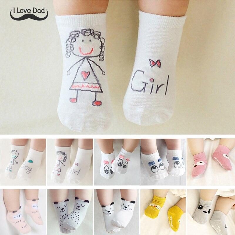 Bonito Otoño de primavera calcetines para bebés recién nacidos de algodón, bonitos Calcetines antideslizantes asimétricos para bebés, Invierno