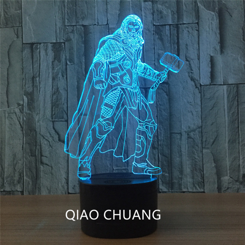 Avengers:Infinity War Justice League Superhero Chris Hemsworth Thor Seven Colors Touch Remote Control 3D Acrylic LED Light G281
