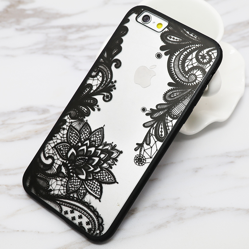 Sexy Lace Floral Paisley Flower Mandala Henna Clear Case For iphone 6 6S Plus 6Plus Phone