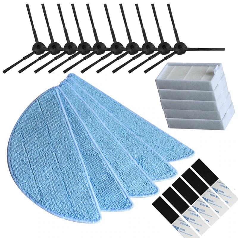 10 Side Brush + 5 HEPA Filter + 5 Mop Cloth + 5 Magic Paste For Chuwi ILIFE V3 V3+ X5 V5 V5s V5 Pro Vacuum Cleaner Spare Parts