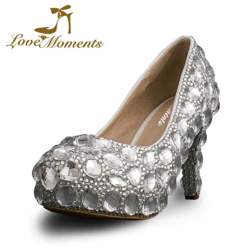 Love Moments Crystal bridal shoes rhinestone handmade silver high heels platform wedding party shoes for women pumps love moments wedding shoes bride high heels women pumps pointed toe buckle strap handmade rhinestone crystal party dress shoes