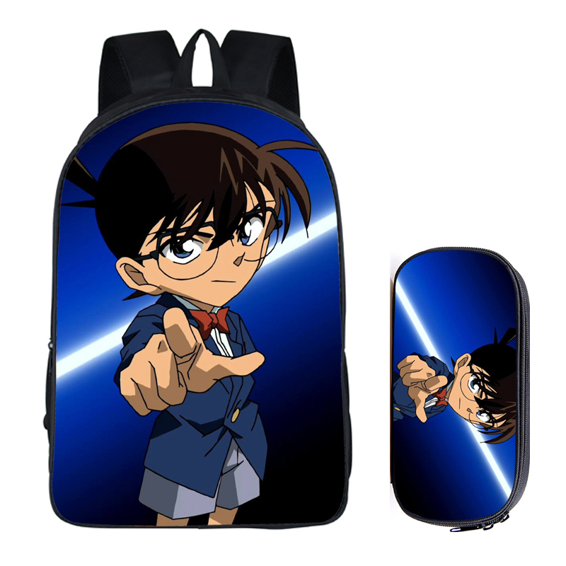 Japanese Anime Conan 2PC Set with Pencil Case Student Backpacks DIY Printing Cool School Children Bags For Boys Kids Men Book